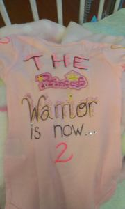 The Princess Warrior's 2nd birthday and BMT bithday onesie.