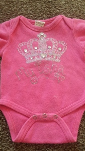 The front of My'isha's 1st birthday onesie.