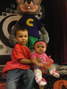 My'isha's 1st & Tre's 3rd brithday at Chuck E Cheese in their handmade birthday shirts.